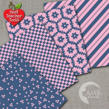 Pink and Navy Digital Papers, {Best Teacher Tools} AMB-543