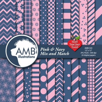 Digital Papers - Mix and Match Red and Navy digital papers