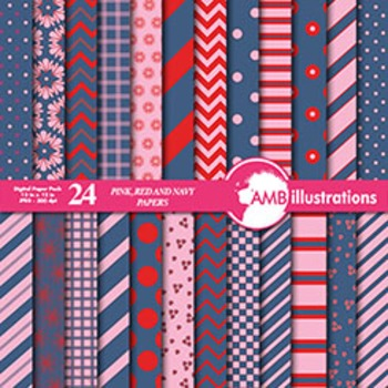 Digital Papers - Mix and Match Red and Navy digital paper, AMB-544