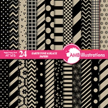 Digital Papers - Mix and Match Beige and Black digital paper, AMB-538