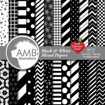 Digital Papers - Mix and Match Black and White digital paper, AMB-531