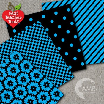 Digital Papers - Mix and Match Blue and Black digital paper, AMB-532
