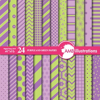 Digital Papers - Mix and Match Green and Lavender digital paper, AMB-547