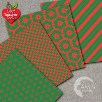 Christmas Digital Papers, Green and Red Digital Paper Patterns, AMB-549