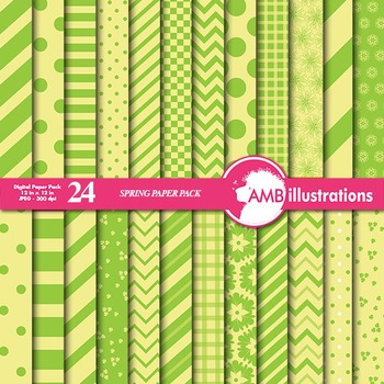 Digital Papers - Mix and Match Green and Yellow digital paper, AMB-550