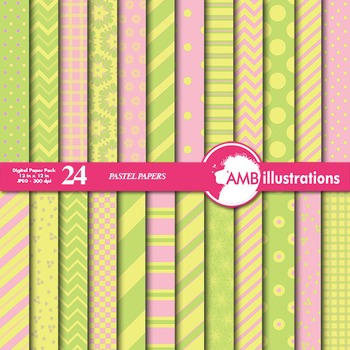 Digital Papers - Mix and Match Pink and Yellow digital paper, AMB-548