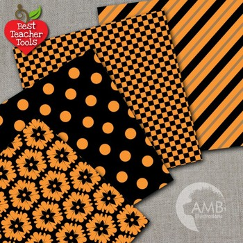 Digital Papers - Mix and Match Orange and Black Halloween papers, AMB-534