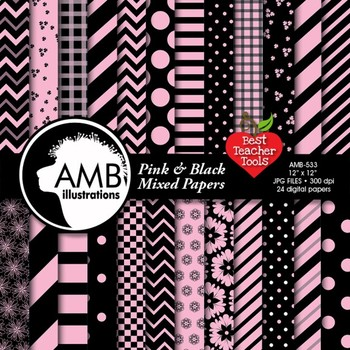Digital Papers, Mix and Match Pink and Black Digital Paper, AMB-533