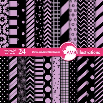 Digital Papers - Mix and Match Purple and Black digital paper, AMB-536