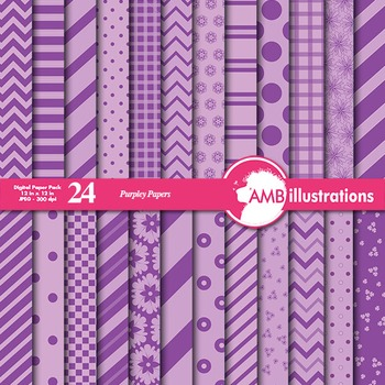 Digital Papers - Mix and Match Purple and Lavender digital