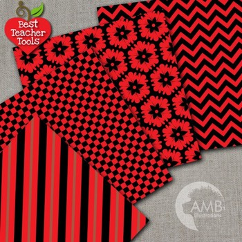 Mix and Match Red and Black Digital Papers, {Best Teacher Tools} AMB-537