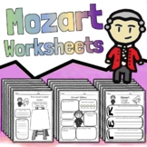 24 Mozart Worksheets - Composer Tests Quizzes Homework Reviews or Sub Work!