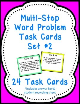 24 Multi-Step Word Problem Task Cards Set #2