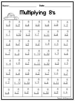 24 Multiplication Practice Printable Worksheets. 2nd-4th Grade Math.