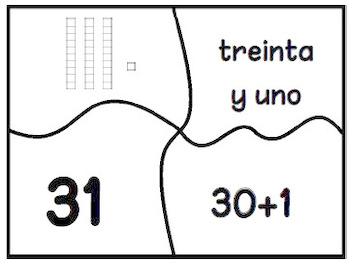 24 Place Value and Number Recognition Puzzles SPANISH Version
