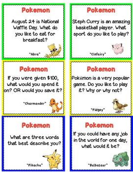 24 Pokemon Ice Breaker Task Cards! Great for Back to School