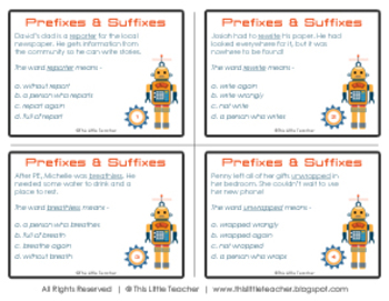 24 Prefixes & Suffixes Task Cards for Grades 2, 3, 4 {Literacy Station}