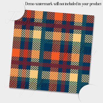 24 Princess Orange Teal Brown Plaid Digital Papers Tartan Gingham Check