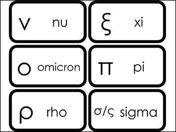 24 Printable Lowercase Greek Alphabet Flashcards.  Foreign Language