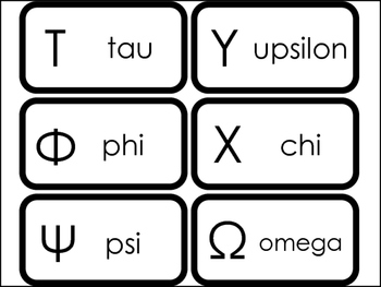 24 Printable Uppercase Greek Alphabet Flashcards.  Foreign Language