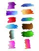 24 Rectangular Paint Smears | Watercolor Splotches, Splatters | Vector Clipart