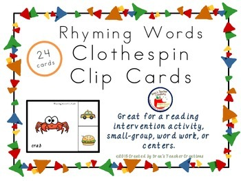 24 Rhyming Word Clothespin Clip Cards