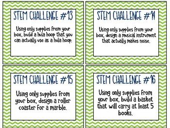 24 STEM Challenge Cards - Green Chevron