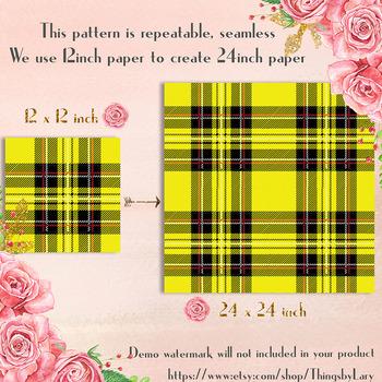 24 Seamless Red Black Yellow Plaid Digital Papers Tartan