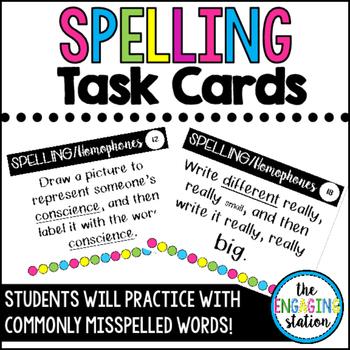 24 Spelling/Homophone Task Cards