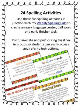 24 No Prep Spelling Activities
