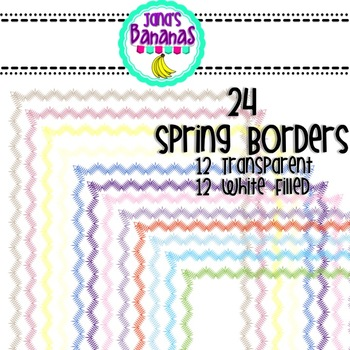 24 Spring Colored ZigZag Borders