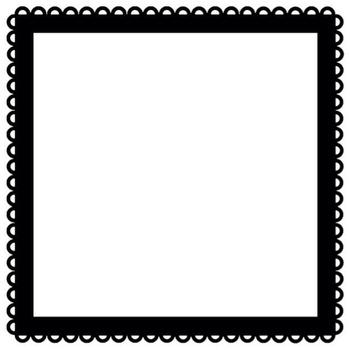 24 Square Scallop Frames - PNG & White Center!