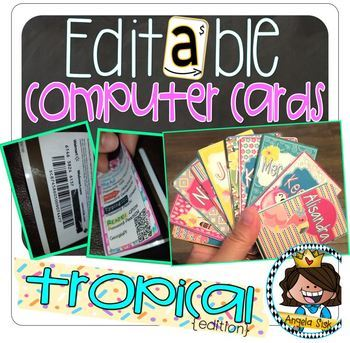 Computer Cards (Tropical Edition) 24 options using Recycled Gift Cards