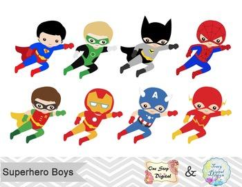 24 Superhero Boys Digital Clip Art, Little Boy Superhero Clipart, 00190