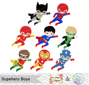 24 Superhero Boys Digital Clip Art, Little Boy Superhero Clipart, 00190