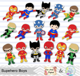 24 Superhero Boys Digital Clip Art, Little Boy Superhero C
