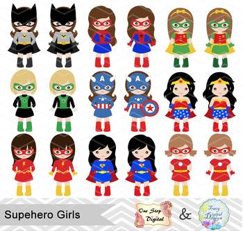 24 Superhero Girls Digital Clip Art, Little Girl Superhero Clipart, 00189
