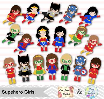 24 Superhero Girls Digital Clip Art, Little Girl Superhero