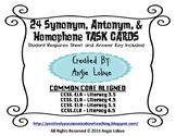 Synonyms, Antonyms, & Homophones (24 Task Cards): Literacy Center/Station