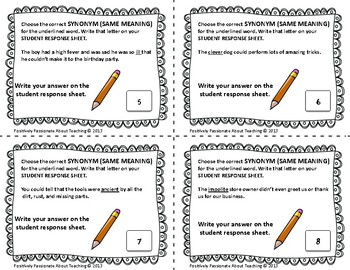 Synonyms, Antonyms, & Homophones (24 Task Cards): Literacy Center/Station