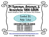 Synonyms, Antonyms, & Homophones (24 Task Cards): Literacy