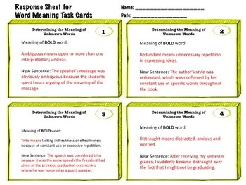 24 Task Cards - Context Clues and Determining Word Meaning - CCSS L.6-12.4