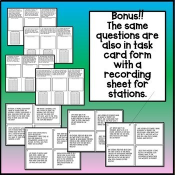 24 Test Prep Fourth Grade Multi-Step Word Problems w/ Bubble Practice
