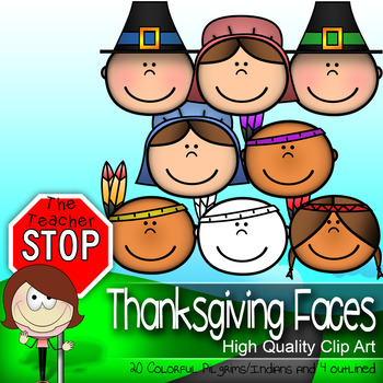 24 Thanksgiving Faces Pilgrims & Indians Clipart {The Teac
