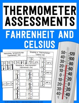 24 Thermometer Assessments - Fahrenheit and Celsius