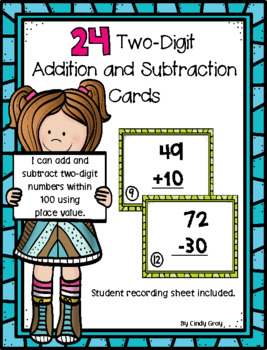 24 Two-Digit Addition and Subtraction Cards