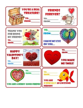 24 Valentine's cards Red Pink Purple Cute Fun New Printable
