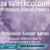 24 Watercolour Printable Digital Papers, Himalayan Colours