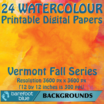 24 Watercolour Printable Digital Papers, Vermont Fall Colours