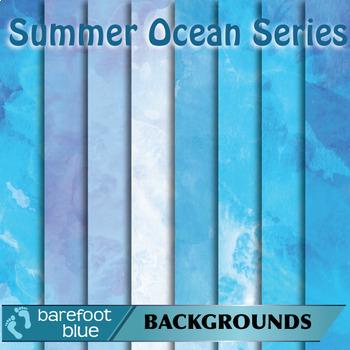 24 Watercolour Printable Digital Papers, Summer Ocean Colours